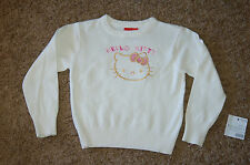 NWOT Girl's Hello Kitty Embroidered Pullover Sweater Size 5 Ivory Nice LQQK FS!