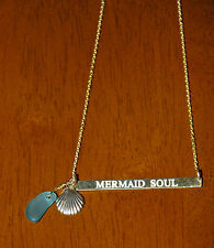 18k Gold Over Silver Vermeil Mermaid Soul Message Bar Necklace Sea Glass & Shell