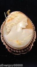 Authentic & Timeless Vintage Shell Cameo Pendant/Brooch  9ct Rose Gold