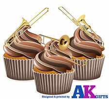 Trombone Mix 12 Edible Stand Up Cup Cake Toppers Decorations Blues Jazz Band