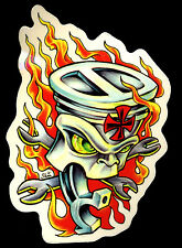Hot Rod Sticker Flaming Piston Drag Race Motorcycle tattoo Decal