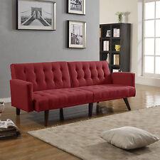 Modern Splitback Red Linen Sleeper Futon Tufted Sofa