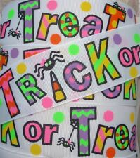 1.5 HALLOWEEN TRICK OR TREAT SPIDER WEB GROSGRAIN DOT RIBBON 4 HAIRBOW BOW
