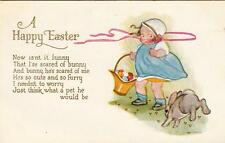 Sweet Toddler Surprised by Hopping Bunny With Poem Embossed Easter Postcard