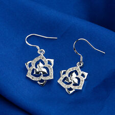 925 Sterling Silver SF Flower Carved White Topaz Dangle Wedding Party Earrings
