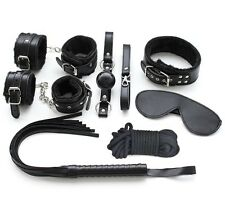 Black Faux Leather & Soft Fur Restraint Kit, Ball Gag, Collar, Wrist Cuff, Ropes