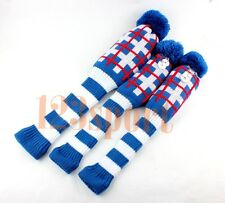 Set Of 3PCS Wool Knitted Golf Club Headcovers Covers For Driver Fairway Wood Fw