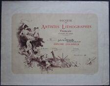 Jules CHERET - Très Grand DIPLOME Société des Artistes Lithographes - Imp. CHAIX