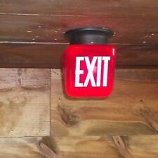 RED Vintage Small EXIT Sign Lamp Light Theater Art Deco glass globe office #X52