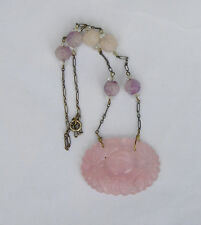 ANTIQUE CHINESE CARVED ROSE QUARTZ & AMETHYST BEAD STERLING NECKLACE