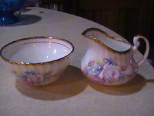 Royal Ardalt Bone China Sugar Bowl & Creamer Pink Roses Gold Trim