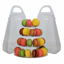 NEW 4 TIER ROUND FRENCH MACARON TOWER DESSERT DISPLAY STAND WITH CARRYING CASE