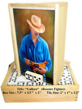 "Dominoes Set Double Nine ""Gallero"" Oil painting on Top. Dozen Art to Choose"