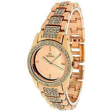 Prince NY London Ladies Mirrored Clear Crystals Bracelet Watch Rose Gold Tone