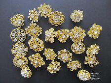Brooch Lot 24 Mixed Gold Pin Wholesale Rhinestone Crystal Wedding Bouquet DIY