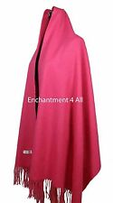 "New Large 80""x28"" 4-Ply 100% Pure Cashmere Luxurious Women Shawl Wrap, Hot Pink"
