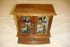 VINTAGE WOODEN JEWELRY  MUSIC BOX WITH DOUBLE GLASS DOORS