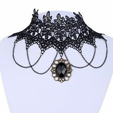 Retro Lace Gemstone Gothic Collar Choker Necklace Pendant Steampunk