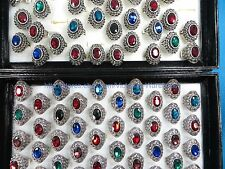 US SELLER-20 ring large rhinestone marcasite vintage jewelry wholesale ring bulk