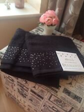 Set Of Two Black 100% Cotton Diamante Bling Hand Towels