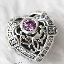 SILVER HEART OPULENCE w Pink Orchid CZ .925 Sterling Silver European Charm Bead