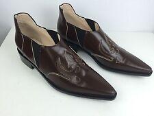 Paco Rabonee Low Boots NWB $870 Sz 40/10 Western Style Slip On Brown/Black