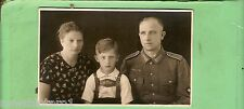 #EE. WWII  GERMAN  POSTCARD - YOUNG COUPLE & SON,  MAN IN UNIFORM