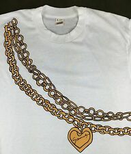 True Vintage 80s Givenchy Graphic Gold Chain Heart Locket White T-Shirt L RARE