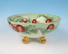LARGE T&V Limoges French Porcelain Footed Fruit Bowl Cherries Gold Hand Painted