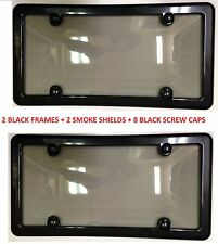 2 Black Frames + 2 UNBREAKABLE Tinted Smoke License Plate Shield For KIA