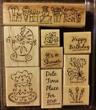Stampin' Up SOMETHING TO CELEBRATE Set 9 Mounted Rubber Stamps Lot Birthday Baby