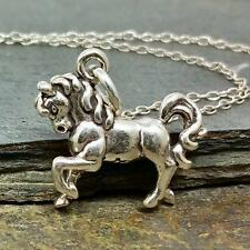 Prancing Horse Necklace - 925 Sterling Silver - 3D Equestrian Charm Jewelry NEW