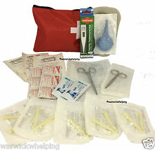 Mini Whelping Kit Scissors, Forceps,Clamps, Aspirator, Thermometer & Red Case