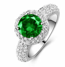 New gorgeous size 9 Exquisite Emerald 925 Silver Gold Filled 4ct engagement Ring