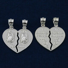 925 Sterling Silver Broken Hearts Our Lady Of Guadalupe Love Charm Pendant