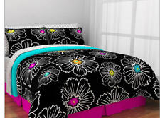 Hot Pink, Teal & Black Teen Girls Full Comforter Set (8 Piece Bed In A Bag)