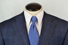 NWOT Canali 1934 Blue Gray Plaid Wool Mens Suit Sz 46R