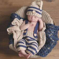 Newborn Baby Photography Props Crochet Costume Striped Soft Outfits Beanie +Pant