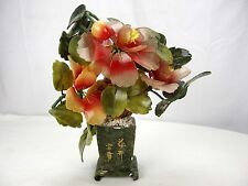 Vintage Mid-Century Japanese Jade Bonsai Tree Carved Gemstone Cherry Blossoms