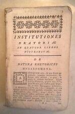 SETTECENTINA INSTITUTIONES ORATORIAE ORATIO CARLO MAJELLO 1712