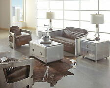 Set of 4 aviator 1 sofa vintage leather 1 cocktail table 2 side table aluminum