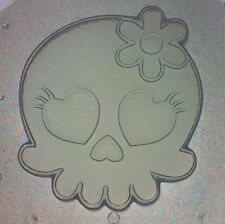 Flexible Mold Kawaii Girl Skull W/ Flower Bow Resin Or Chocolate Mould