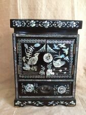 Vintage Black Lacquer Inlaid Jewelry Chest Box