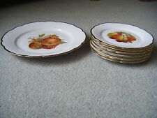 Seltmann Weiden E Bavaria Cake/Cheese Plate & 6 Side Plates Fruit & Nut Gold rim