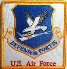 "United States Air Force ""DEFENSOR FORTIS""  Iron On Patch Gold Border"
