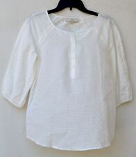 NEW!! NWT Ann Taylor LOFT Cream dotted 3/4 sleeves tunic Top Sz L