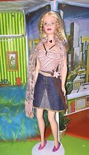 Hippy Style Barbie w/Pink Striped Top/Denim Skirt/Pink Shawl/Pink Shoes