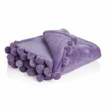 Lovely Supper Soft Pom Pom Bed Sofa Throw Blanket Lilac