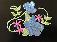 Sew on & iron on  patches(Vintage flower vine-blue)