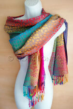 Multi Colour Pashmina Scarf Rainbow Paisley Print Viscose Womens Wrap/Shawl